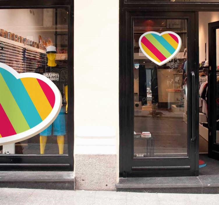TenStickers. Sticker vitrine coeur multicolore. Stickers représentant un cœur rayé multicolore.Autocollant applicable aussi bien dans un salon ou sur une vitrine de boutique.