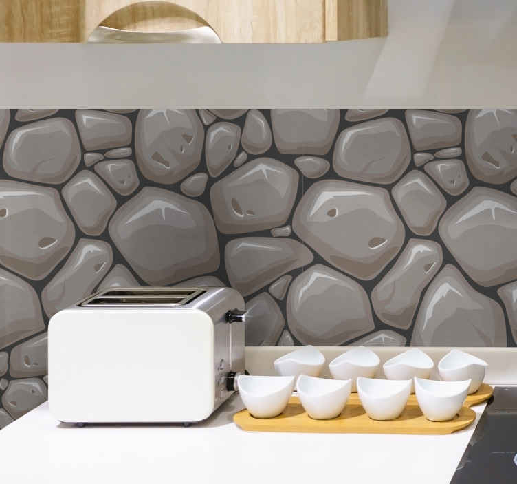 TenStickers. Stone Effect texture wall sticker. If you want a decoration sticker for your kitchen that will bring a stone effect to your walls, we have the kitchen sticker made for you !