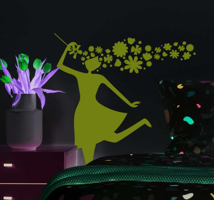 TenVinilo. Vinilo pared silueta mujer primavera. Vinilo adhesivo formado por la silueta de una mujer, el pelo de la cual está representado con flores. Atención al Cliente Personalizada.