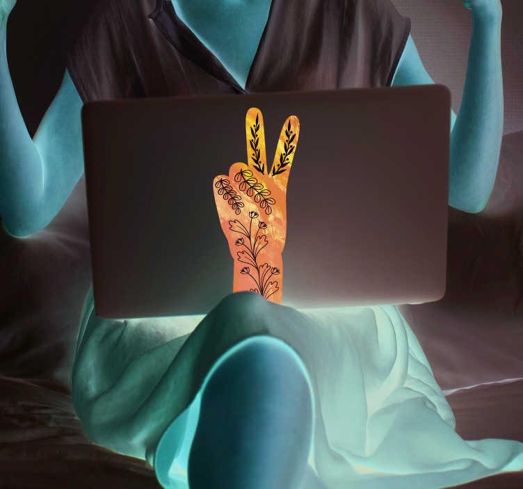 TenVinilo. Vinilo para portátiles V de victoria. Pegatina para portátil o tablet que representa la V de victoria a través de una mano azul con flores blancas. +10.000 Opiniones satisfactorias.