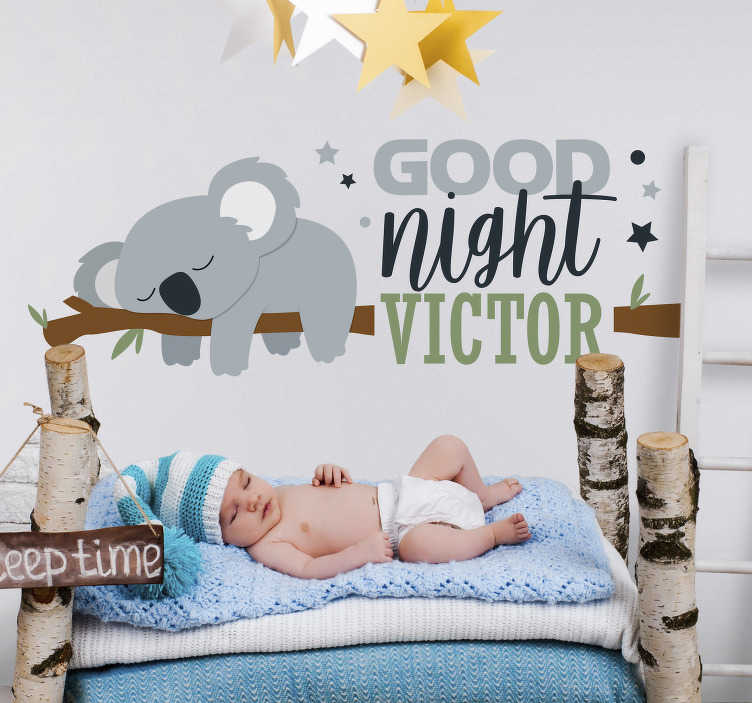 TenStickers. Baby Koala Tree Kids Wall Sticker. Encourage your child to sleep as much as possible with this superb koala themed customisable kids sticker! Easy to apply.