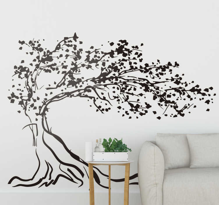 TenStickers. Autocollant mural arbre majestueux. Stickers mural illustrant un arbre centenaire faisant face au vent.