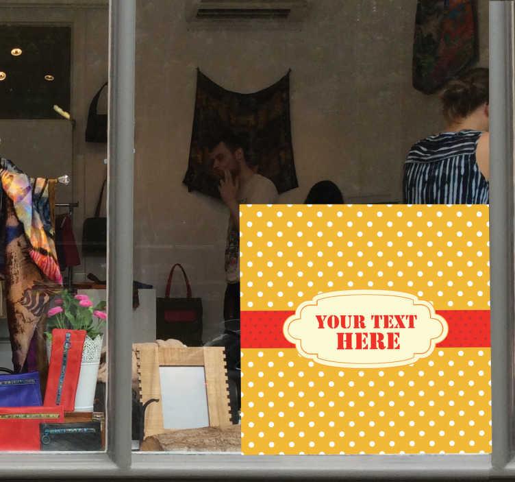 TenStickers. Sticker étiquette à pois ruban. Sticker orangé à pois blancs orné d'une bande centrale rouge, idéal pour afficher vos offres en vitrine.