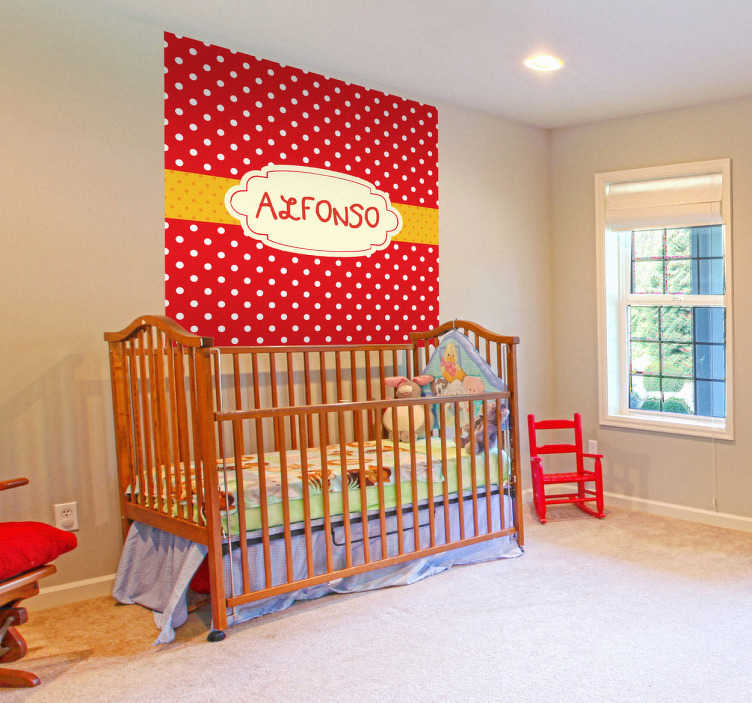 TenStickers. Personalisierbare Folie Aufkleber. Ein WandtattooDesign im Geschenkpapier Look, mit dem Sie das Kinderzimmer dekorieren können.