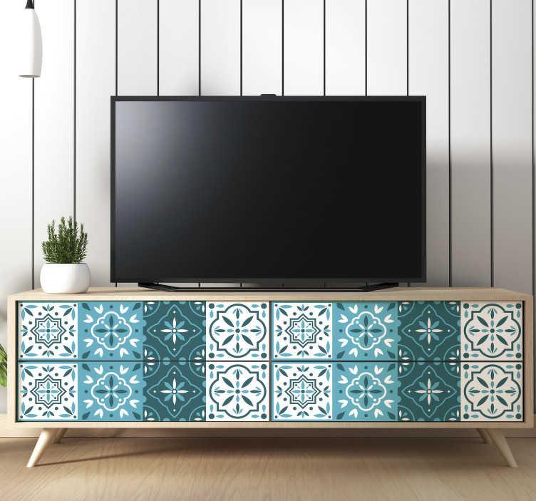 TenStickers. Meubelstickers Kleurrijke geometrische patronen. Deze patroon sticker van verschillende geometrische patronen in blauwe tinten is de perfecte manier om je meubels een trendy look te geven.