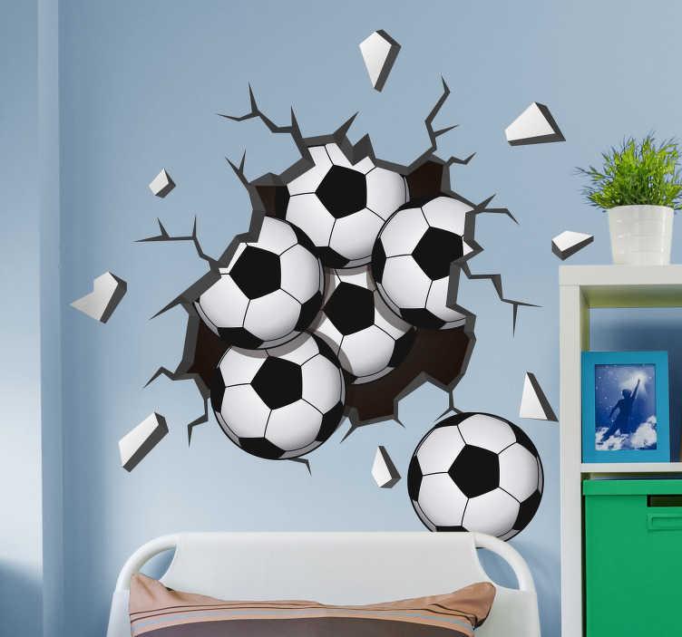 TenVinilo. Vinilo deporte pelotas cayendo de la pared. Pegatina formada por el diseño de un trampantojo representado a partir de un hueco del que caen pelotas de fútbol. Compra Online Segura y Garantizada.