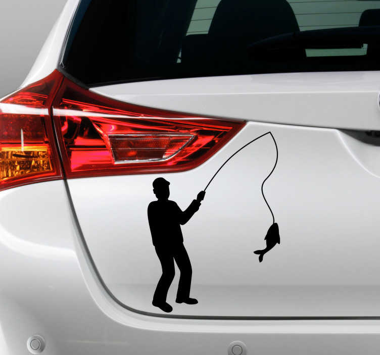 TenStickers. Silhouette stickers visser met vangst. Met deze gepersonaliseerde sticker van een visserman die een vis heeft gevangen, kan je op een leuke manier jouw auto versieren en uniek maken.