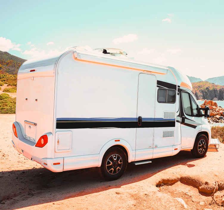 TenStickers. Sticker Ligne Bandes Latérales. Pour ceux qui partent en vacances en caravane, quoi de mieux qu'une décoration simple et élégante grâce à un sticker de trait pour la carrosserie ?