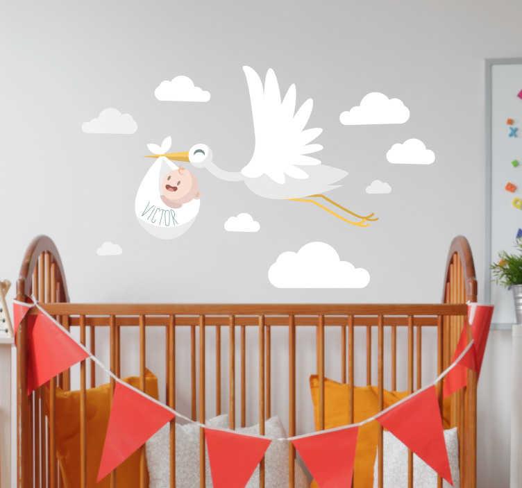 TenStickers. Sticker Chambre Enfant Cigogne personnalisée. Envie d'un sticker mural personnalisé pour fêter l'arrivée du bébé ? Ce sticker de cigogne au prénom personnalisable sera parfait !