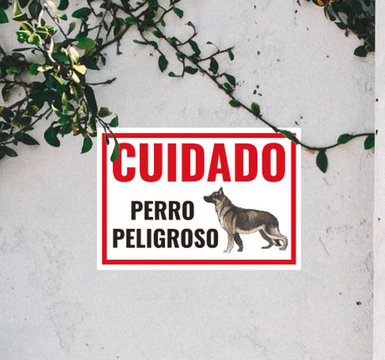 """TenVinilo. Cartel en vinilo cuidado con el perro. Original pegatina adhesiva para la entrada de tu hogar formada por el cartel """"CUIDADO Perro Peligroso"""". Atención al Cliente Personalizada."""