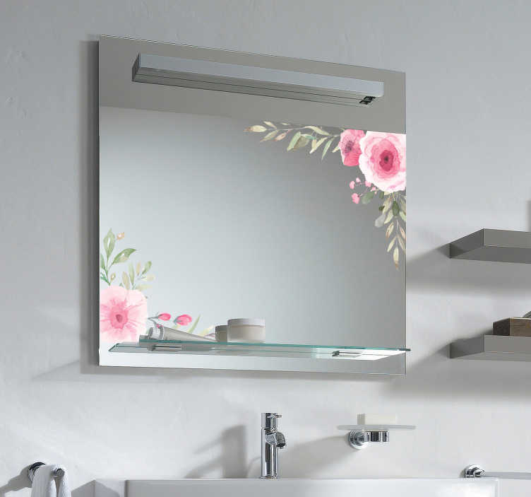 TenStickers. Pastel Flowers Home Wall Sticker. Do you think your bathroom's mirror looks empty ? Then, don't hesitate to decorate it with these beautiful flower sticker.