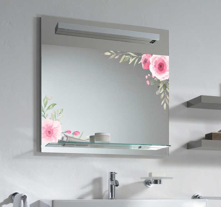 TenStickers. Spiegel sticker roze bloemen spiegelsticker. Roze bloemen spiegelstickers. Rozen speigelsticker, een leuk idee als spiegel decoratie stickers voor uw slaapkamer. Geniet van bloem spiegelstickers