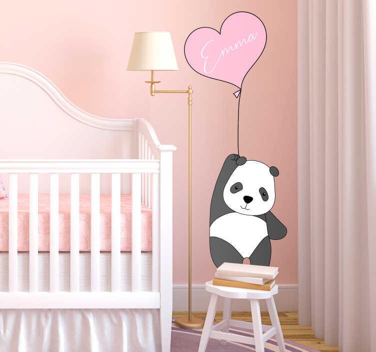 TenVinilo. Vinilo infantil oso y globo con nombre. Vinilo adhesivo personalizable infantil formado por el diseño de un oso panda sujetando un globo en forma de corazón. Precios imbatibles.