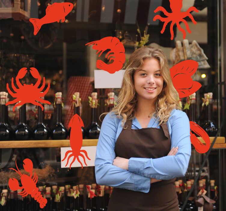 TenStickers. Bedrijfsstickers krab en vis etalage sticker. Raamstickers viswinkel met etalage stickers krab en etalage sticker vissen! Onze raamstickers vis restaurant om recalame te maken!