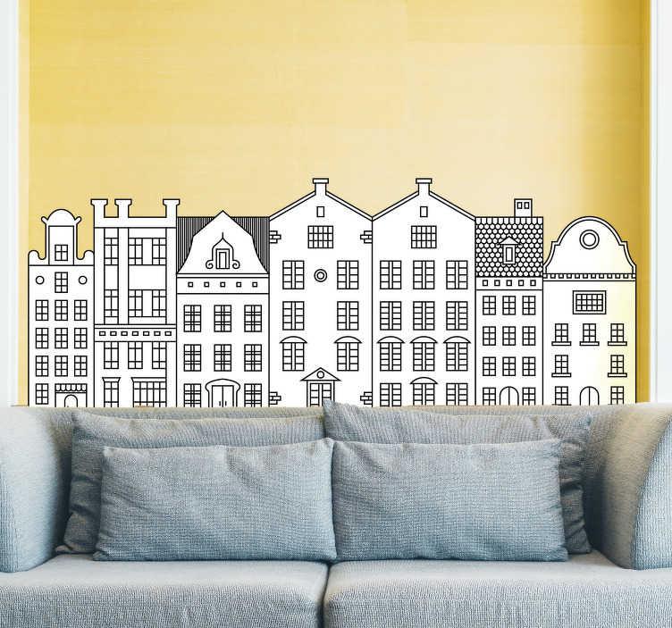 TenStickers. Woonkamer stickers grachtpant huisjes Amsterdam. Leuke Amsterdam muursticker van gezellige grachtenpand muurstickers en  huisjes muurstickers. Amterdam sticker is een leuk idee voor in uw woonkamer!