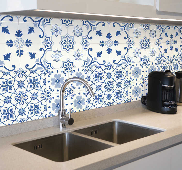TenStickers. Delft Blue Tiles transfer. Decorative home wall tile sticker made with delft blue tiles pattern. Easy to apply and waterproof. Choose it in any size