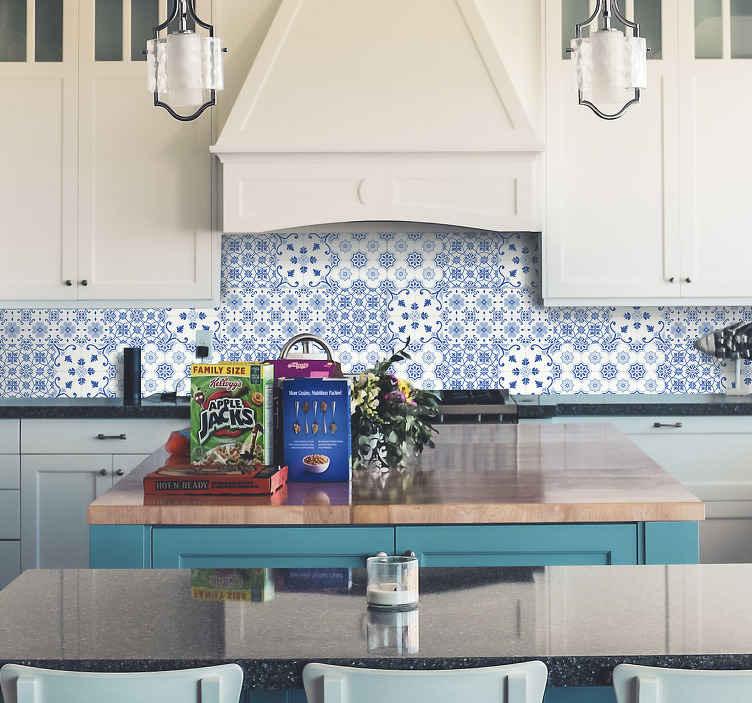 TenStickers. Tegelstickers Delft blauw tegeltjes. Tegelstickers delft blauw, een leuk idee als tegelstickers keuken. Knap uw keuken op met leuke delft blauw tegel stickers en blauwe tegelstickers!
