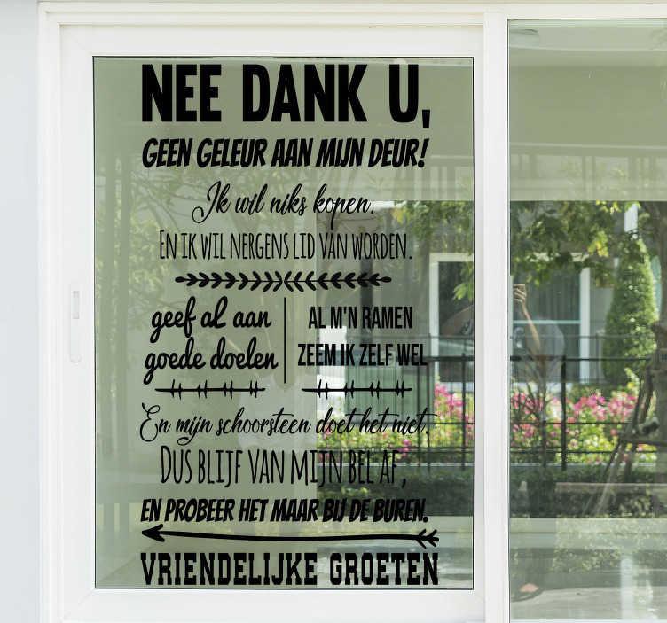 TenStickers. Raamstickers Geen deur verkoop a.u.b.. Raamsticker Geen deur verkoop is een ideale raamsticker geen verkopers als u genoeg hebt van verkopers in uw straat. Geen verkoop sticker op maat!