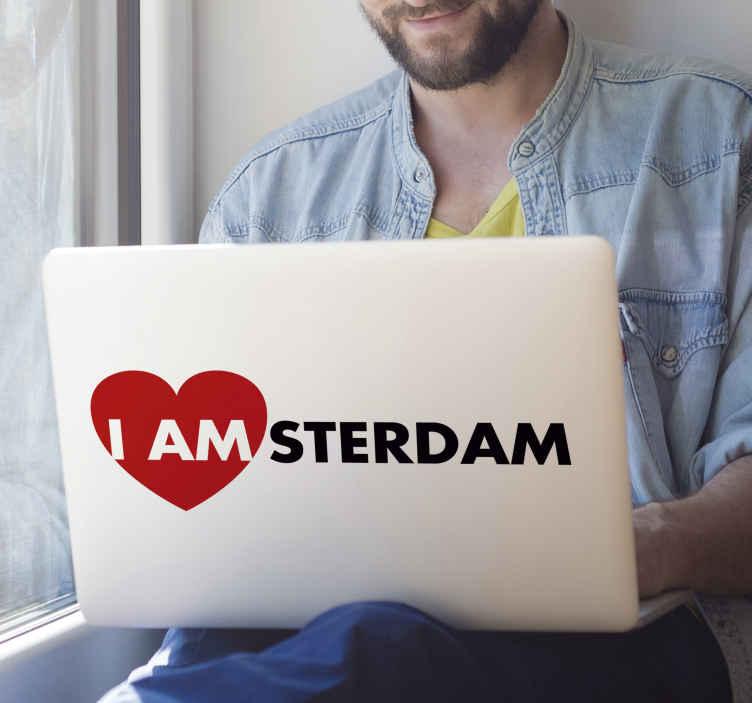 TenStickers. Muurstickers tekst I am Amsterdam. Laptop sticker Amsterdam, leuke sticker als je uit Amsterdam woont. I AMsterdam laptop sticker! Geniet van onze Amsterdam sticker laptop designs.