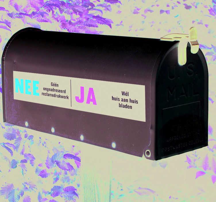 TenStickers. Muurstickers tekst JA NEE deursticker postbus. De nee ja postbus sticker is ideaal als u geen verkopers wilit maar wel reclame. JA reclame stickers en Deursticker huis aan huis bladen voor uw deur.