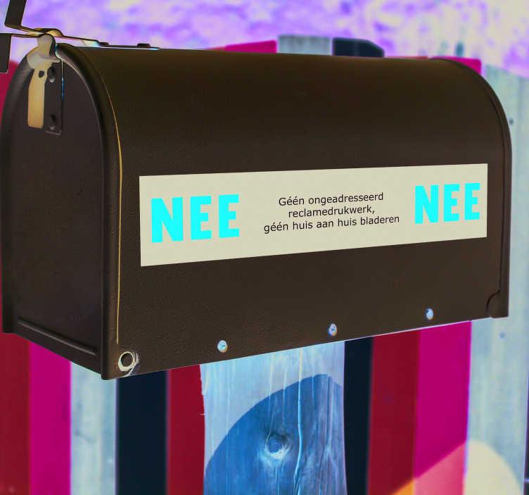 TenStickers. Muurstickers tekst NEE NEE sticker Geen verkoop. Deze garage sticker of postbus sticker is een ideaal idee als NEE sticker,  deursticker geen verkoop of deursticker NEE voor geen verkoop aan uw deur.