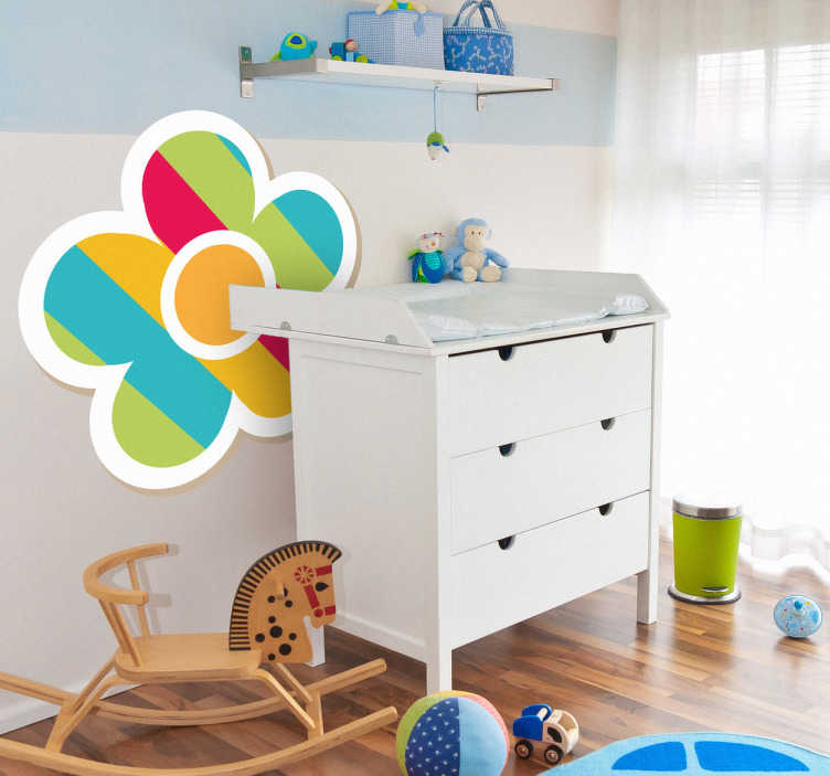 TenStickers. Multicoloured Daisy Kids Sticker. An illustration of a multicoloured daisy from our collection of daisy wall stickers to decorate children's bedrooms and play areas.