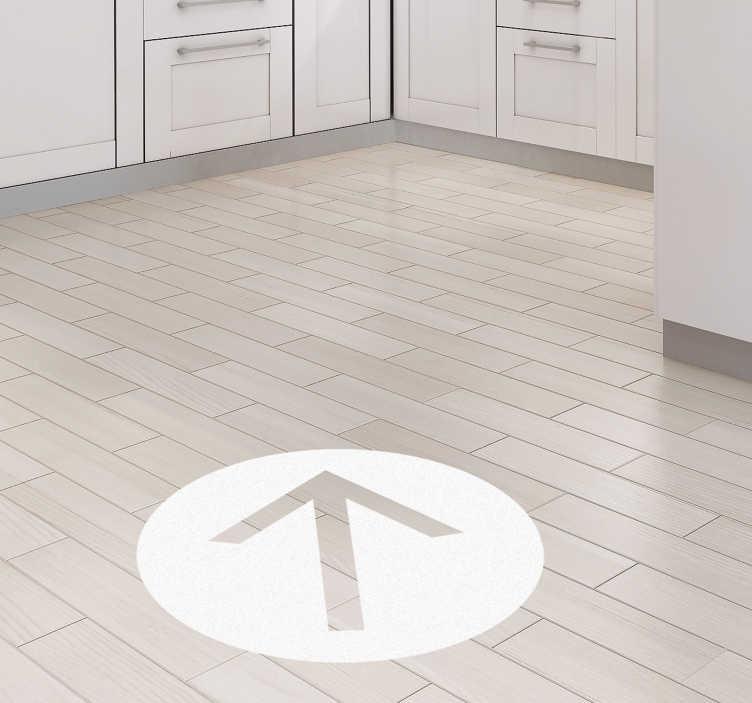 """TenStickers. Sticker Sol Flèche signalétique. Si vous avez envie d'un sticker dessin au style signalétique pour votre intérieur, cette flèche """"code de la route"""" ira à tout type de pièce."""