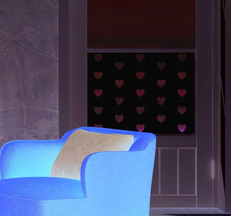 TenStickers. Autocollant Vitrophanie Motifs de Coeurs. Pour un autocollant d'amour qui mettra du baume au coeur à toute votre famille, ce sticker déco sera parfait pour les vitres du salon ou de la chambre