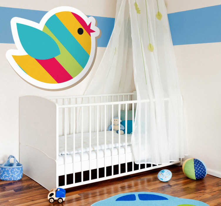 TenStickers. Naklejka na ścianę dla dzieci rajski ptak. Śmieszna naklejka dla dzieci przedstawiająca rajskiego ptaka w kolorowe paski. Obrazek stanowi ładny akcent w pokoju dziecięcym.