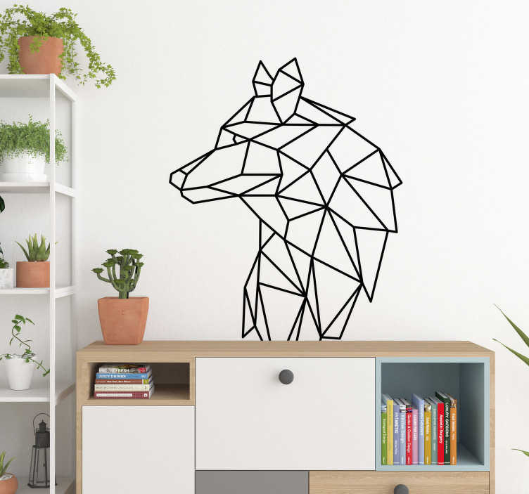 TenStickers. 기하학적 늑대 동물 벽 스티커. 기하학적 늑대의 3 차원 레크리에이션과 환상적인 늑대 스티커. 우리의 다른 기하학 벽 데칼을 확인하십시오.