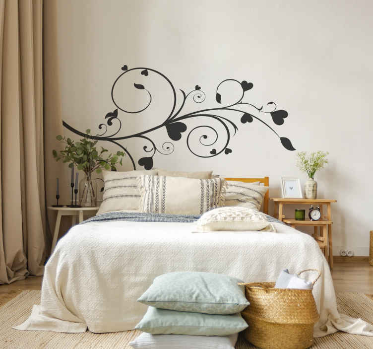 TenStickers. Heart Floral Plant Wall Sticker. Wall Stickers - Floral design with blossoming hearts. Choose from our various colours and select a size that suits you.