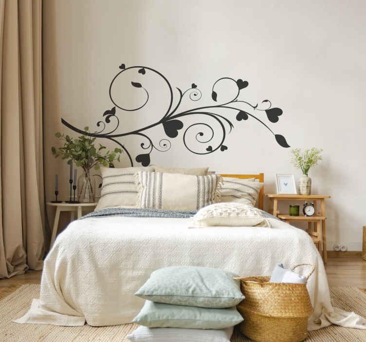 TenStickers. Naklejka gałąź z sercami. Jednokolorowa naklejka na ścianę przedstawiająca gałąź z sercami. Udekoruj Swój pokój naszą stylową naklejką dekoracyjną dostępną w różnych rozmiarach.