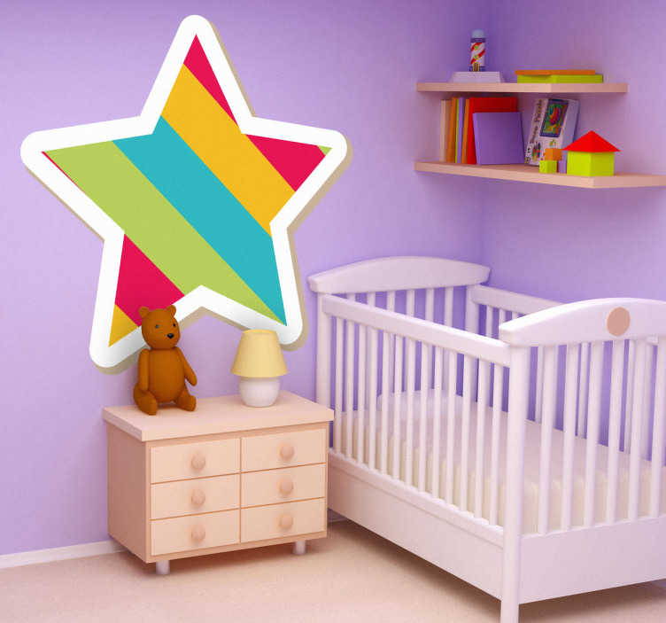 TenStickers. Muursticker Regenboogkleuren Ster. Deze sticker omtrent een ster in vrolijke en felle kleuren. Ideaal voor het decoreren van de kinderkamer. Ook voor ramen en auto's.