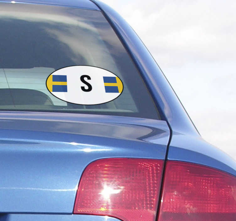 Tenstickers. Sveriges flaggbildekal. Fantastisk bil klistermärke sverige. Denna sveriges flaggbildekal är tillgänglig för bilar och andra fordon. Flagga sveriges bilklistermärke för stötfångare och bilfönster.