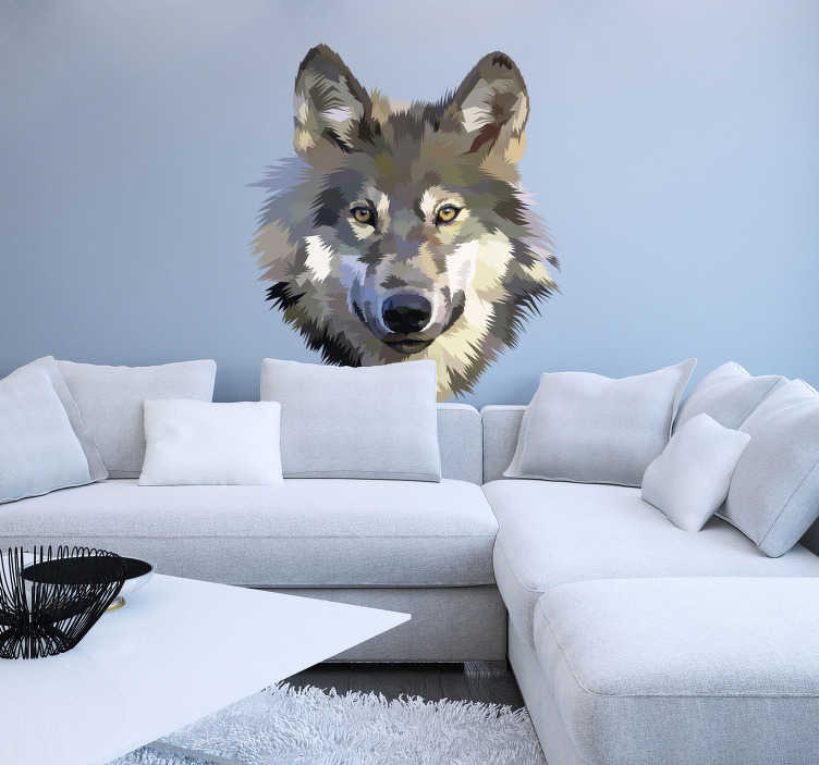 TenStickers. Muurstickers dieren Vintage wolf. Cool and interesting wolf wall sticker for in the living room. This wall sticker wolf can be adjusted into many different styles and different sizes.