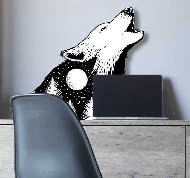 TenStickers. Howling Wolf wild animal sticker. Wild animal wall sticker with the design of a howling wolf.  A black and white colour design ideal for any space of desire. Easy to apply.