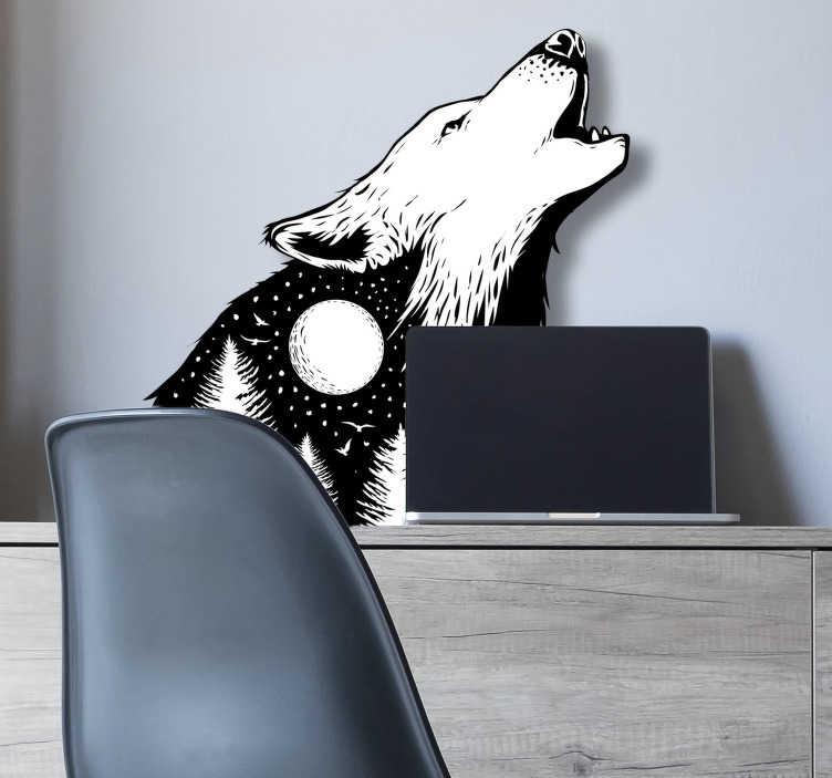 TenStickers. Sticker Maison Loup à la lune. Pour tous les loups solitaires qui aiment décorer leur intérieur, ce sticker d'animal sauvage de loup hurlant à la lune sera idéal !