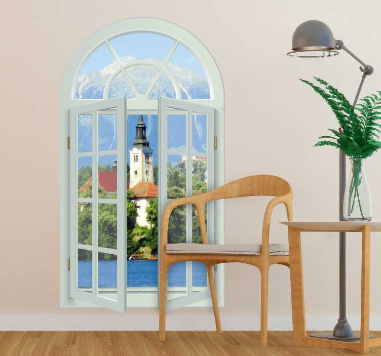 TenStickers. Muurstickers woonkamer Vensterraam met uitzicht. Mooi uitzicht muursticker van een muursticker raam. Deze muursticker schilderij wordt op maat gemaakt. Bekijk hier onze schilderij muurstickers!