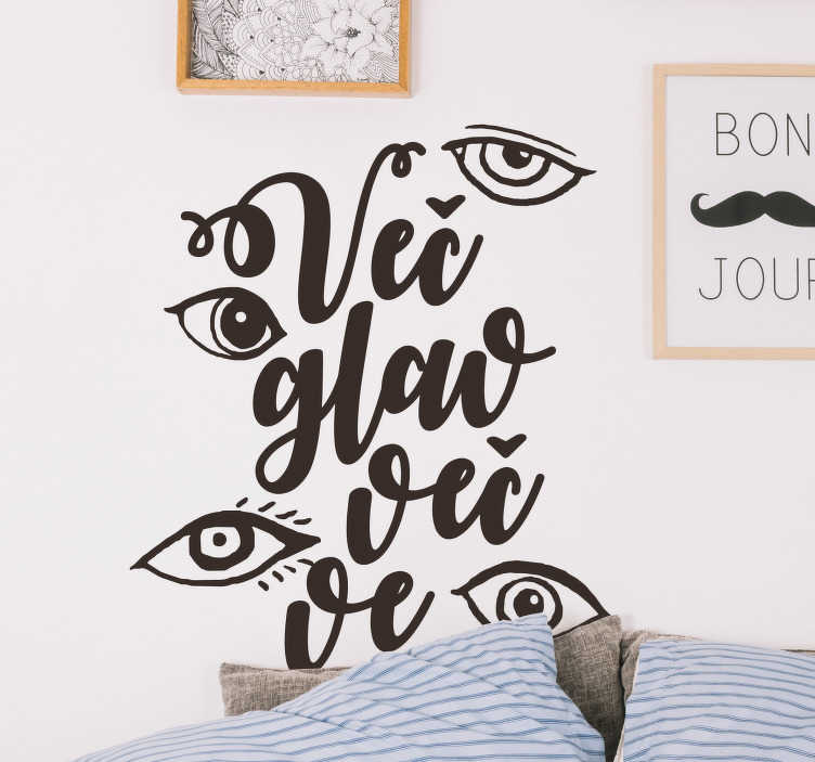 TenStickers. Oči besedilo nalepka dnevna soba steno dekor. To besedilno nalepko za spalni prostor. Stenska nalepka slovensko besedilo, idealno za nalepke za spalnice v vseh velikostih. Kul besedilo nalepka!