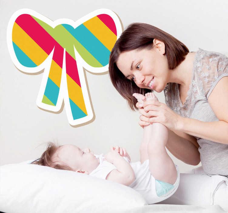 TenStickers. Linierte Schleife Aufkleber. Mit dieser Schleife mit bunten Linien als Wandtattoo können Sie das Kinderzimmer dekorieren.