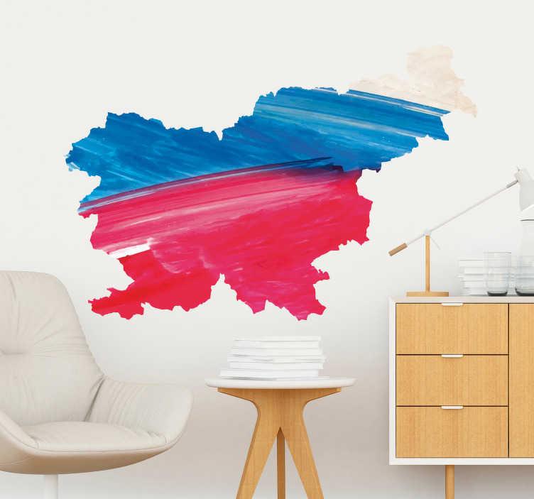 TenStickers. Slovenija akvarel karta dnevna soba stena dekor. Kul akvarelna mapa slovenija wallsticker ali zemljevid slovenia wallsticker, idealna za dnevno sobo. Ta nalepka se lahko prilagodi v več velikostih!