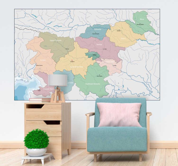 TenStickers. Map slovenija zidna nalepka. Cool wallsticker zemljevid slovenija, idealna za dnevno sobo. Uživaj to slovenija zemljevid stenske nalepke z družino držav zemljevid stenske nalepke!