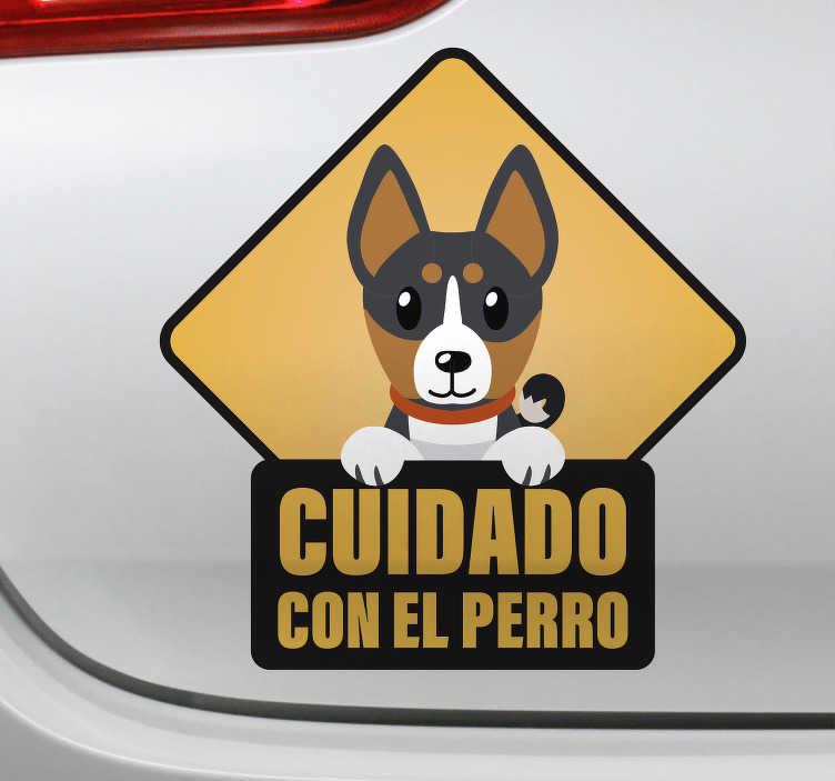 """TenVinilo. Señalética autoadhesiva cuidado con el perro. Pegatina señalética para vehículo formada por el dibujo de un perro y el texto """"Cuidado con el perro"""". Envío Express en 24/48h."""