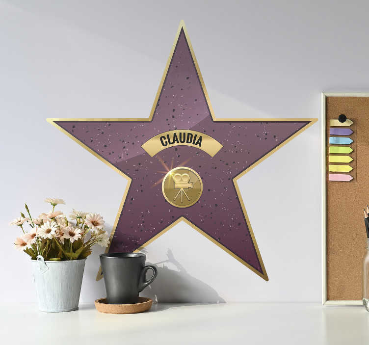 TenVinilo. Vinilo pared estrella paseo de la fama. Pegatina personalizada formada por el diseño de una estrella típica del Paseo de la Fama de Hollywood. +10.000 Opiniones satisfactorias.
