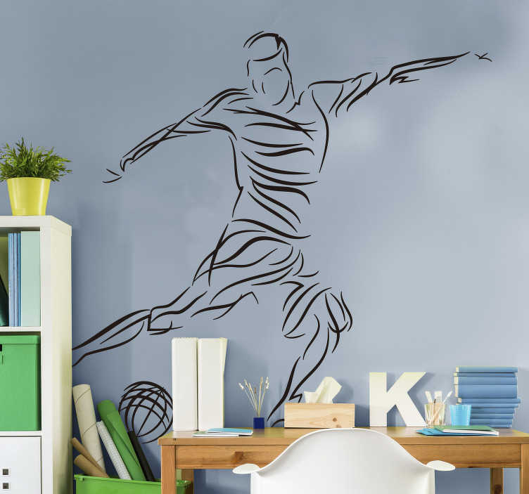 TenStickers. Abstract footballer football sticker. Decorative abstract football player wall sticker. Available in different colours and sizes. Easy to apply and highly durable.