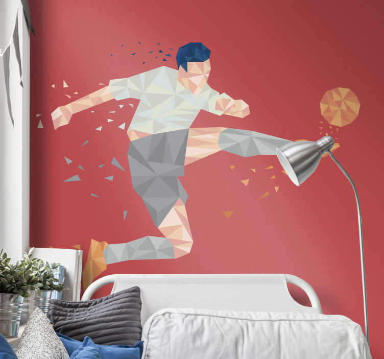 TenVinilo. Vinilo abstracto futbolista profesional. Pegatina adhesiva para habitación juvenil formada por la silueta abstracta y geométrica de un futbolista. Promociones Exclusivas vía e-mail.