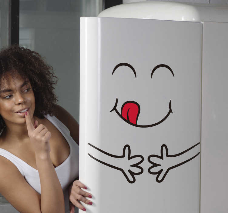 TenStickers. Hungry fridge wrap. Decorative emoji iconic fridge sticker that depicts hunger. Available in any required size. Easy to apply and self adhesive.