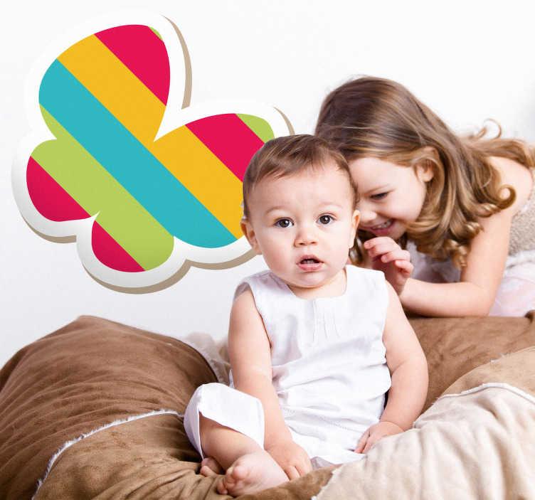 TenStickers. Naklejka dziecięca kolorowy motyl. Naklejka dekoracyjna dla dzieci przedstawiająca kolorowego motyla w paski. Obrazek jest dostepny w wielu wymiarach.