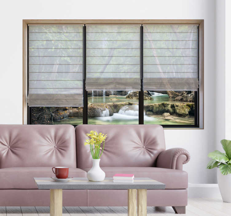 TenStickers. 3d landscape living room visual effects wall sticker. Decorative visual effect landscape sticker for living room. Easy to apply and available in different sizes. Self adhesive and durable.