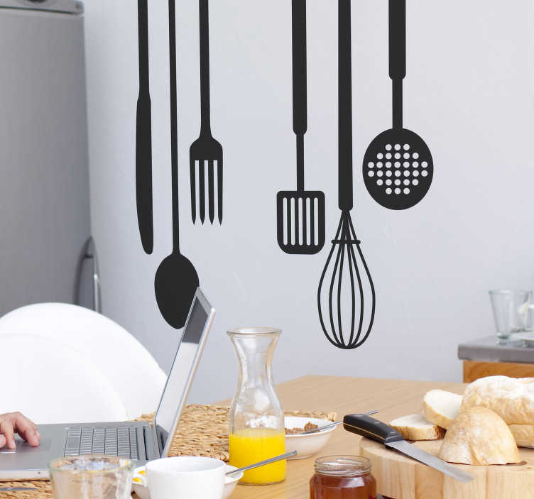 TenStickers. Cooking Tools Business Sticker. If you are the type of person who loves spending time in the kitchen, you will love this kitchen decal representing several cooking tools.